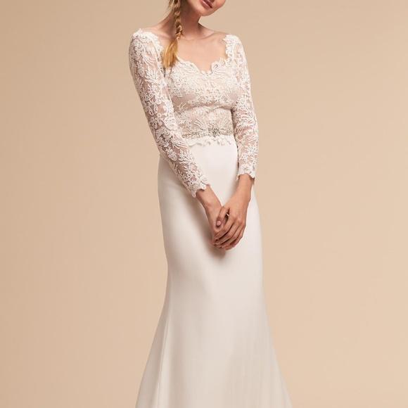 BHLDN Dresses & Skirts - BHLDN Langston Wedding Gown Long Sleeve Sz 6 12 16